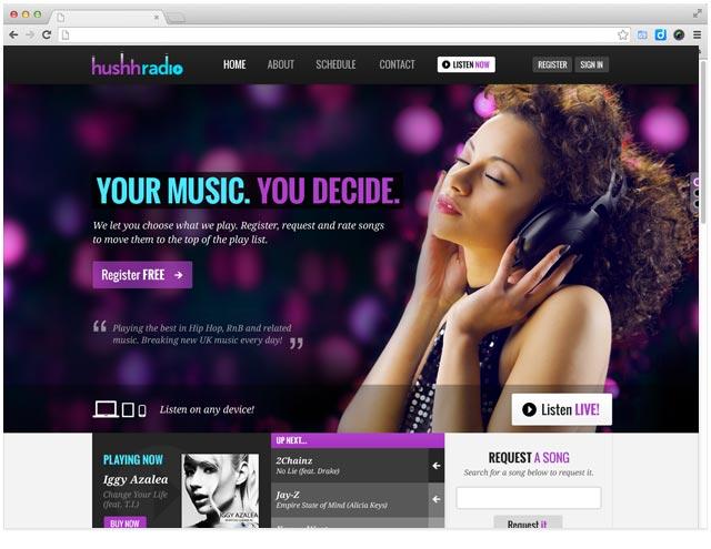 web-design-for-hushh-online-radio